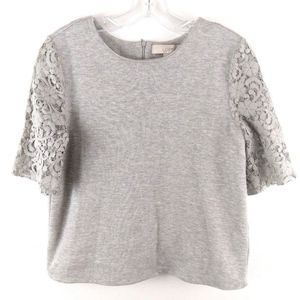 Ann Taylor Loft Women's Top Knit Lace Sleeve Gray